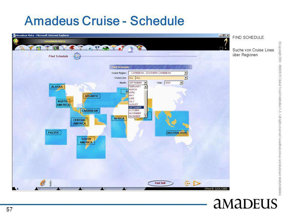 © copyright 2003 - AMADEUS Global Travel Distribution S.A. / all rights reserved / unauthorized use and disclosure strictly forbidden 57 Amadeus Cruis
