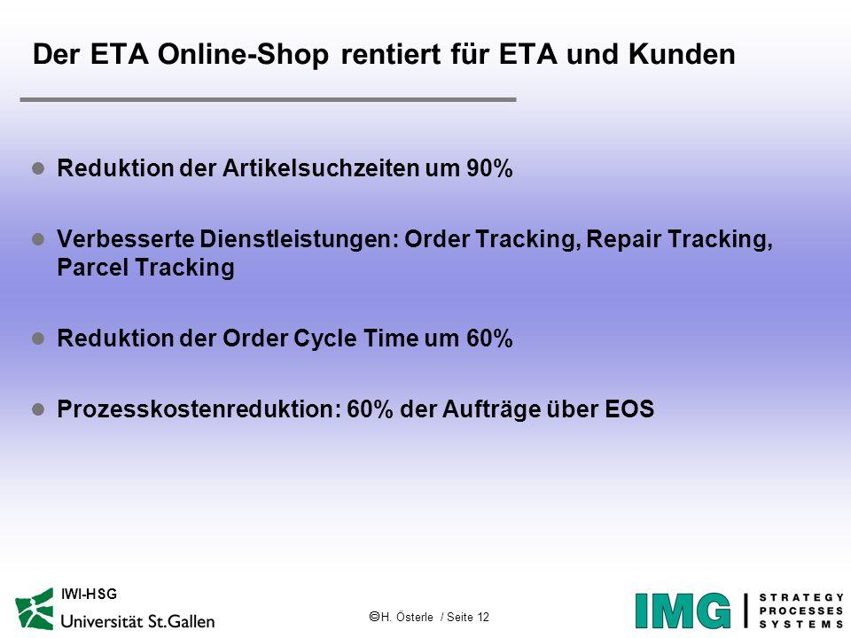 H. Österle / Seite 12 IWI-HSG Der ETA Online-Shop rentiert für ETA und Kunden l Reduktion der Artikelsuchzeiten um 90% l Verbesserte Dienstleistungen: