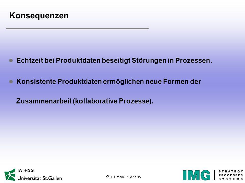 H. Österle / Seite 15 IWI-HSG Konsequenzen l Echtzeit bei Produktdaten beseitigt Störungen in Prozessen. l Konsistente Produktdaten ermöglichen neue F