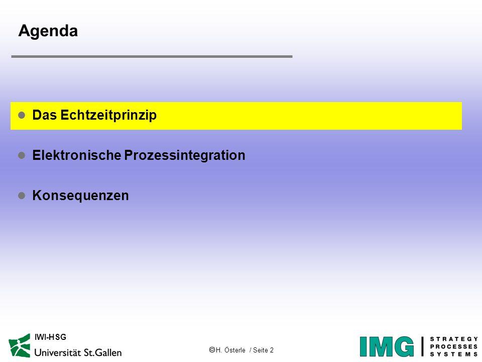 H. Österle / Seite 2 IWI-HSG Agenda l Das Echtzeitprinzip l Elektronische Prozessintegration l Konsequenzen