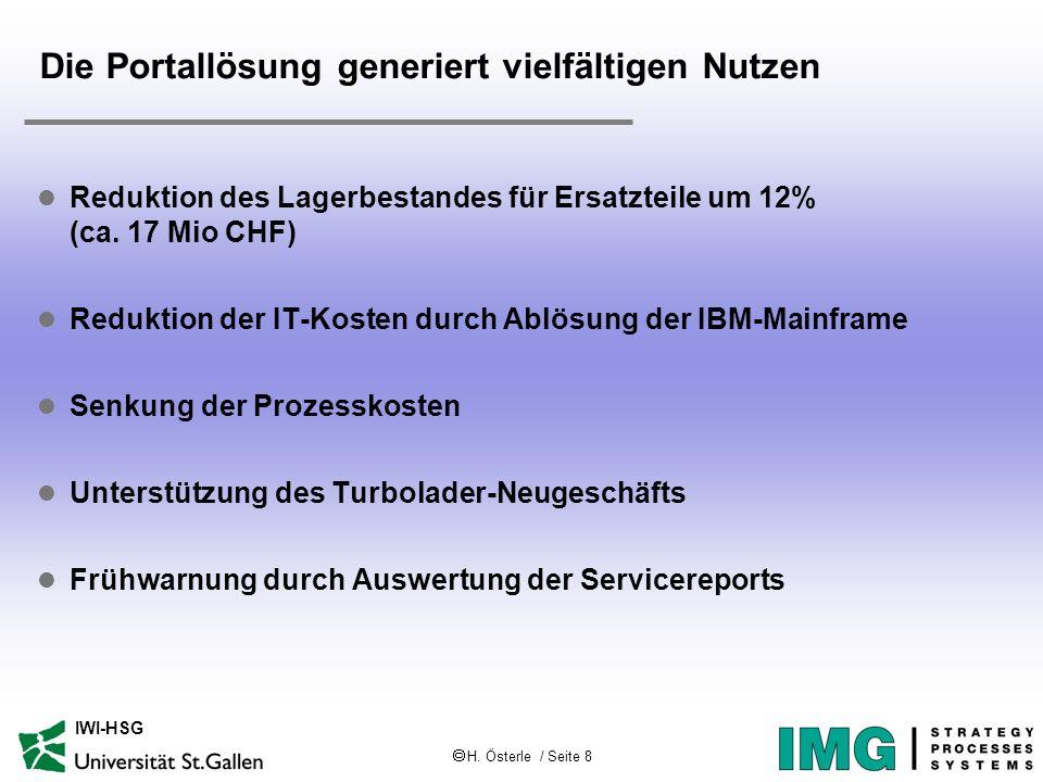 H. Österle / Seite 8 IWI-HSG Die Portallösung generiert vielfältigen Nutzen l Reduktion des Lagerbestandes für Ersatzteile um 12% (ca. 17 Mio CHF) l R