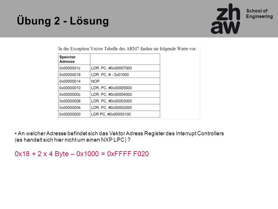 School of Engineering Übung 2 - Lösung An welcher Adresse befindet sich das Vektor Adress Register des Interrupt Controllers (es handelt sich hier nicht um einen NXP LPC) .