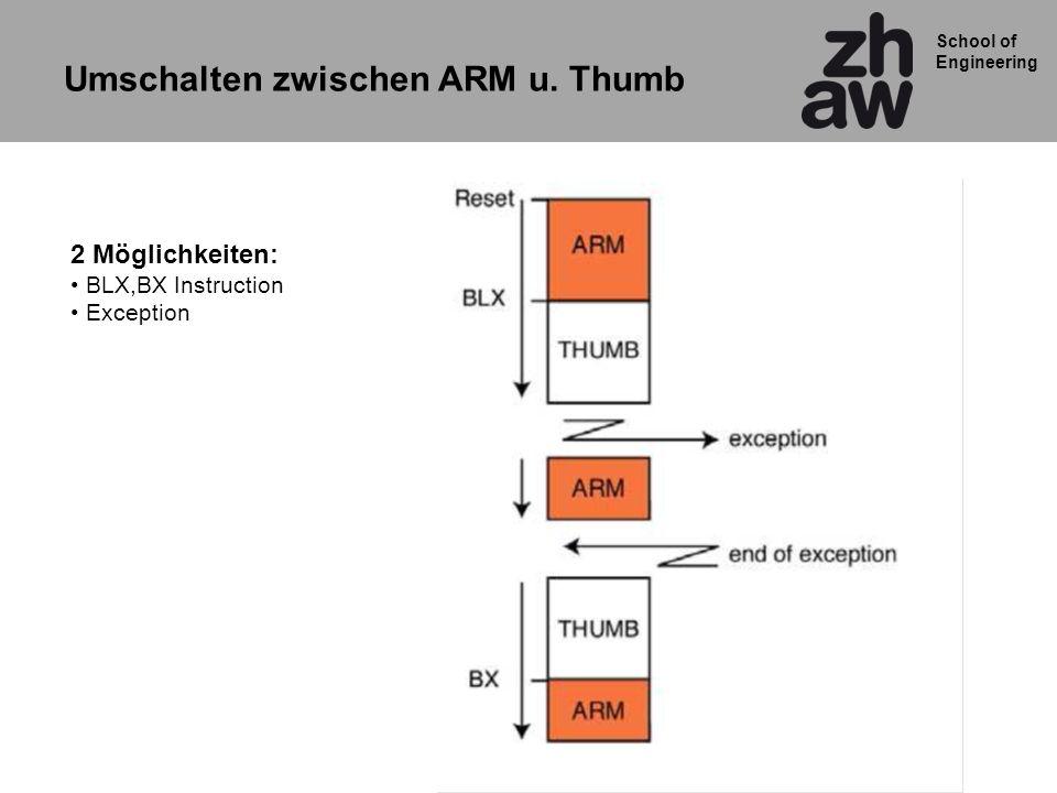 School of Engineering Umschalten zwischen ARM u. Thumb 2 Möglichkeiten: BLX,BX Instruction Exception