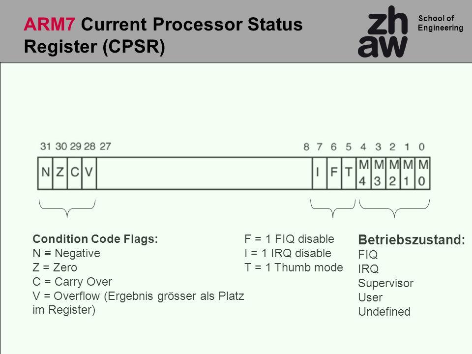 School of Engineering Betriebszustand: FIQ IRQ Supervisor User Undefined F = 1 FIQ disable I = 1 IRQ disable T = 1 Thumb mode Condition Code Flags: N = Negative Z = Zero C = Carry Over V = Overflow (Ergebnis grösser als Platz im Register) ARM7 Current Processor Status Register (CPSR)