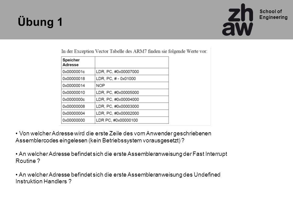 School of Engineering Cond00IOpCodeSRnRdOperand2 201511120162631 25 1921 24 2728 0100 = ADD 0010 = SUB 1101 = MOV … Destination Register Operand1 Register 0000 = EQ 0001 = NE 0010 = >= … 1110 = Immer Beispiel: ADDEQ R2,R4,R5 ;If Z flag set R2:= R4 + R5 Beispiel: 32-bit Befehl