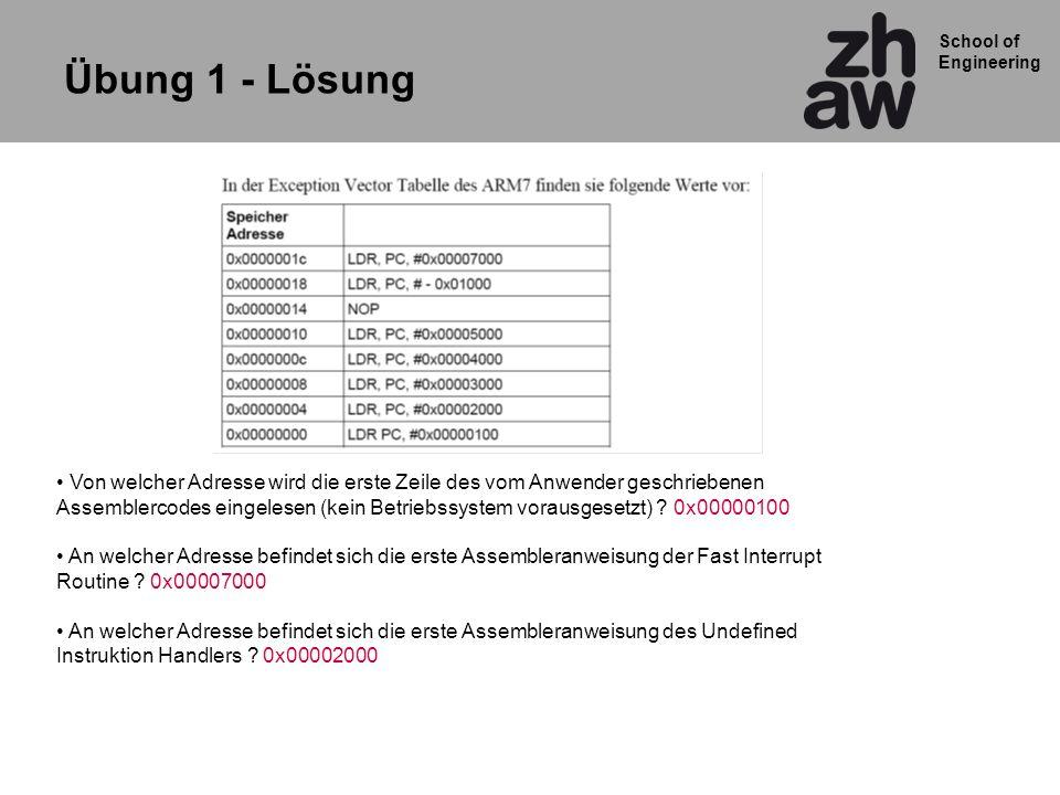 School of Engineering Übung 1 - Lösung Von welcher Adresse wird die erste Zeile des vom Anwender geschriebenen Assemblercodes eingelesen (kein Betriebssystem vorausgesetzt) .