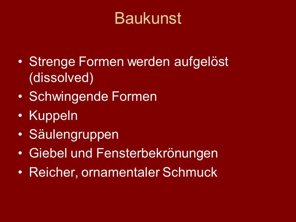 Musik Kontrapunkt und Polyphonie Gegensätze und Spannungen (contrast and tension) Dur und Moll (major and minor keys) Instrumente wie Cembalo (harpsichord), Fagott (bassoon) Cello, Orgel Bach Händel Pachelbel