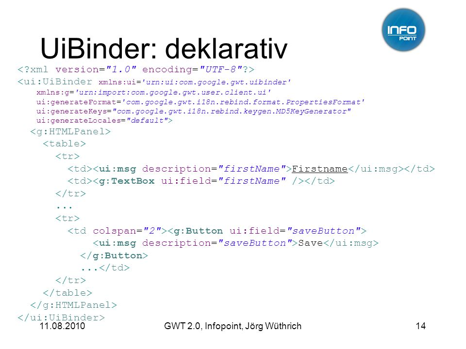 11.08.2010GWT 2.0, Infopoint, Jörg Wüthrich14 UiBinder: deklarativ <ui:UiBinder xmlns:ui= urn:ui:com.google.gwt.uibinder xmlns:g= urn:import:com.google.gwt.user.client.ui ui:generateFormat= com.google.gwt.i18n.rebind.format.PropertiesFormat ui:generateKeys= com.google.gwt.i18n.rebind.keygen.MD5KeyGenerator ui:generateLocales= default > Firstname...