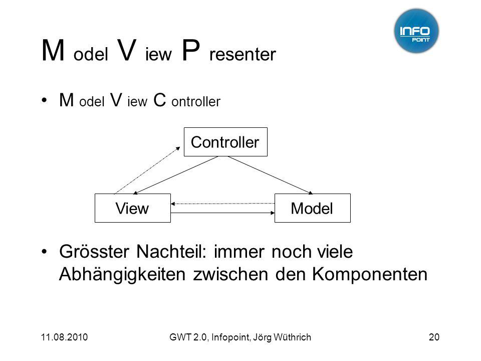 11.08.2010GWT 2.0, Infopoint, Jörg Wüthrich20 M odel V iew P resenter M odel V iew C ontroller Grösster Nachteil: immer noch viele Abhängigkeiten zwischen den Komponenten ModelView Controller