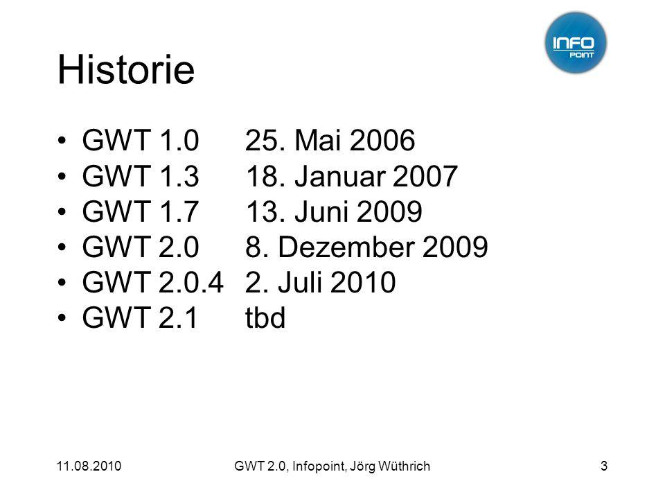 11.08.2010GWT 2.0, Infopoint, Jörg Wüthrich3 Historie GWT 1.0 GWT 1.3 GWT 1.7 GWT 2.0 GWT 2.0.4 GWT 2.1 25.