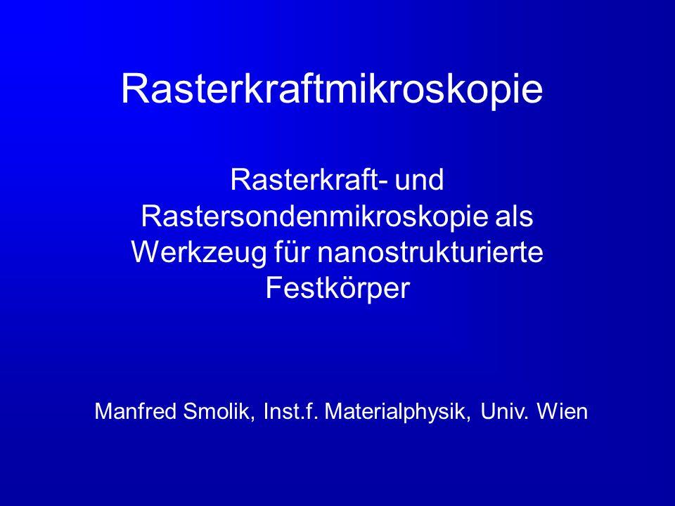 Rasterkraftmikroskopie Rasterkraft- und Rastersondenmikroskopie als Werkzeug für nanostrukturierte Festkörper Manfred Smolik, Inst.f. Materialphysik,