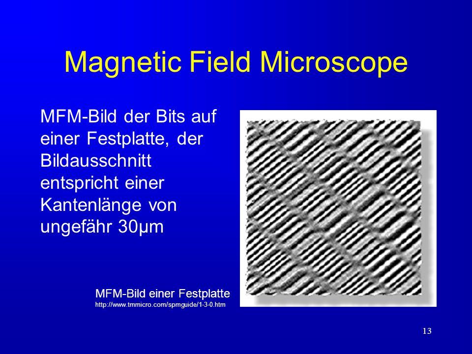 13 Magnetic Field Microscope MFM-Bild der Bits auf einer Festplatte, der Bildausschnitt entspricht einer Kantenlänge von ungefähr 30µm MFM-Bild einer