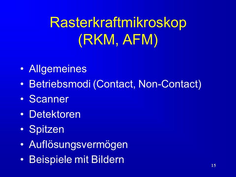 15 Rasterkraftmikroskop (RKM, AFM) Allgemeines Betriebsmodi (Contact, Non-Contact) Scanner Detektoren Spitzen Auflösungsvermögen Beispiele mit Bildern