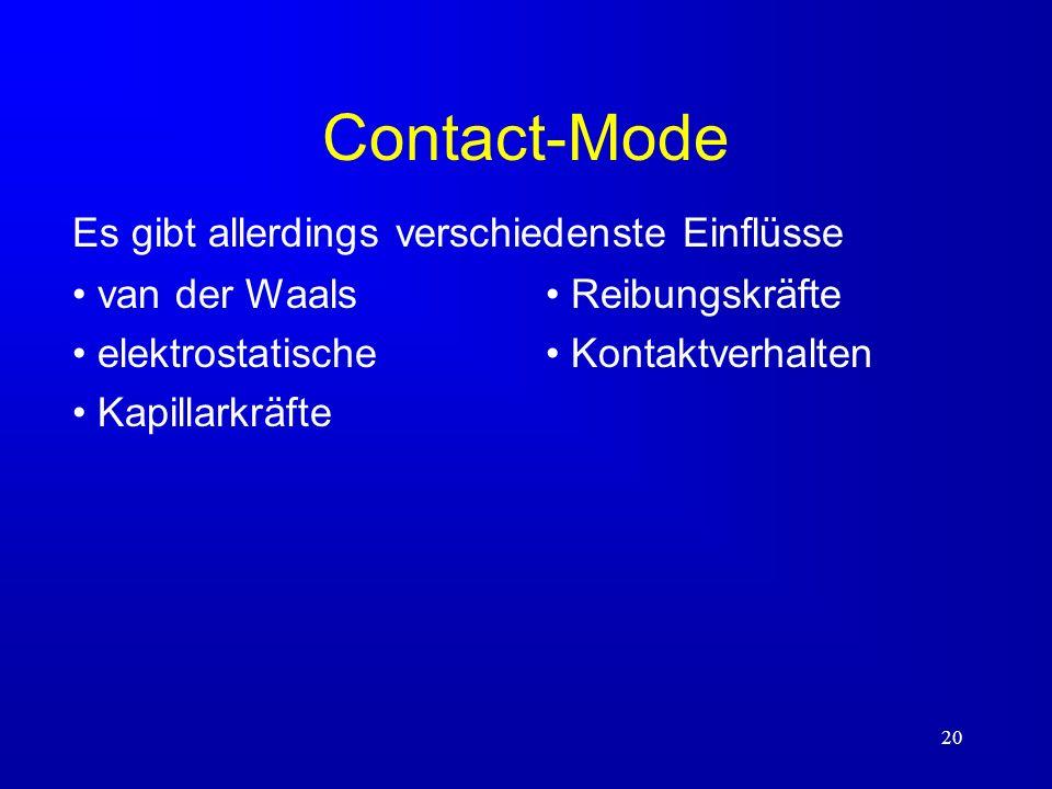20 Contact-Mode van der Waals elektrostatische Kapillarkräfte Es gibt allerdings verschiedenste Einflüsse Reibungskräfte Kontaktverhalten
