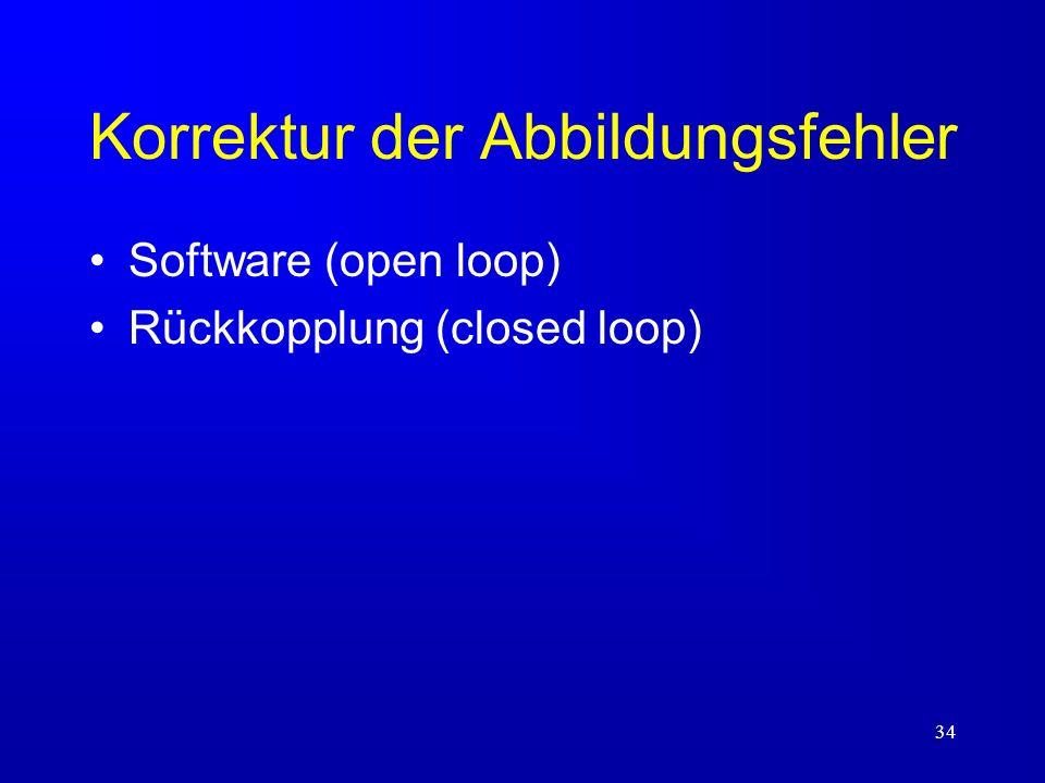 34 Korrektur der Abbildungsfehler Software (open loop) Rückkopplung (closed loop)