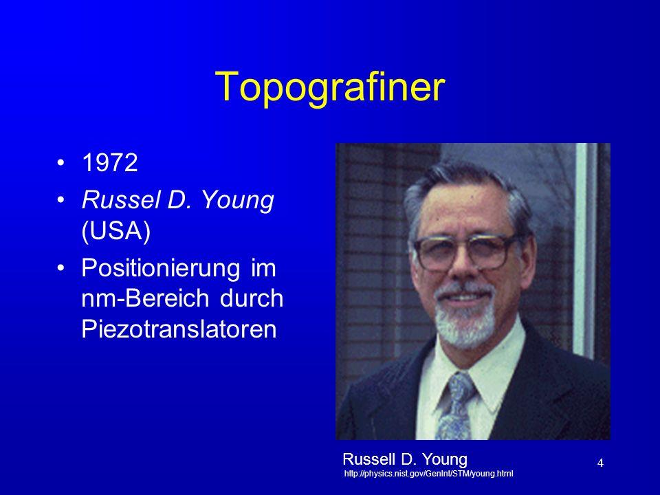 5 Entwicklung des RTM (STM) 1982 Gerd Karl Binning (*1947, D) Heinrich Rohrer (*1933, CH) IBM Zürich Heinrich Rohrer, Gerd Karl Binning http://www.deutsches-museum.de/ausstell/meister/rtm.htm