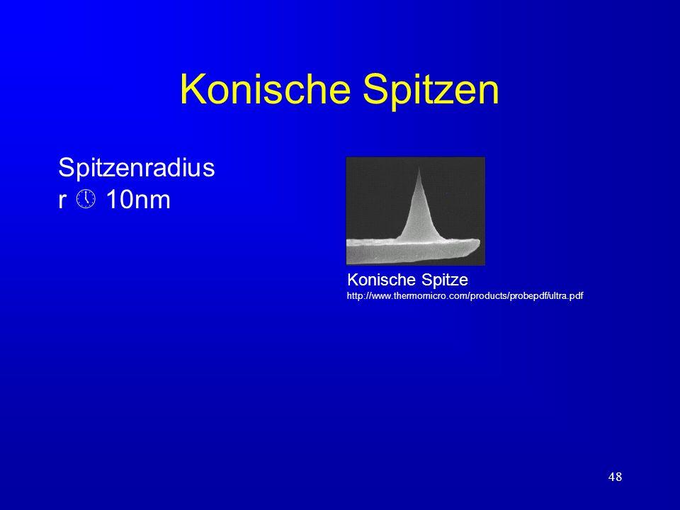 48 Konische Spitzen Spitzenradius r 10nm Konische Spitze http://www.thermomicro.com/products/probepdf/ultra.pdf