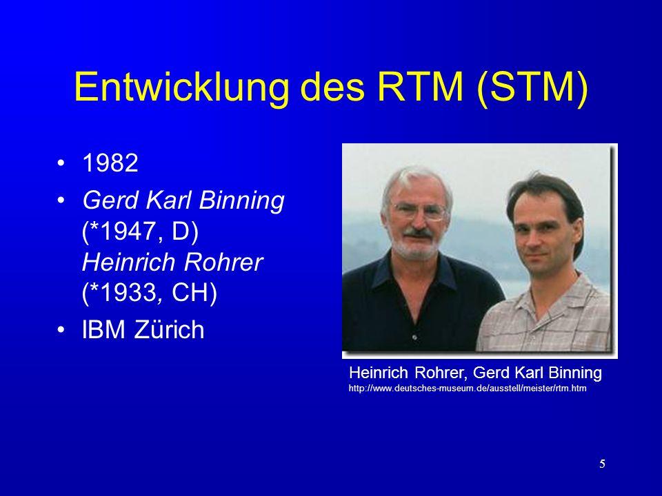 5 Entwicklung des RTM (STM) 1982 Gerd Karl Binning (*1947, D) Heinrich Rohrer (*1933, CH) IBM Zürich Heinrich Rohrer, Gerd Karl Binning http://www.deu