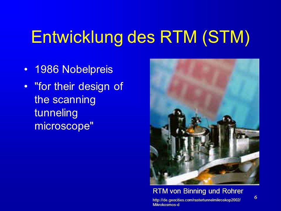 7 Entwicklung des RKM (AFM) 1986 Gerd Karl Binning Christoph Gerber Calvin Quate IBM Zürich Stanford University Das erste RKM verwendet ein RTM um die Verbiegung des Cantilevers zu messen.