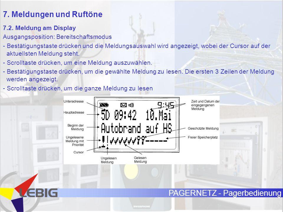 PAGERNETZ - Pagerbedienung 7.2. Meldung am Display Ausgangsposition: Bereitschaftsmodus - Bestätigungstaste drücken und die Meldungsauswahl wird angez