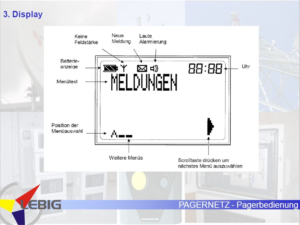 PAGERNETZ - Pagerbedienung 3. Display