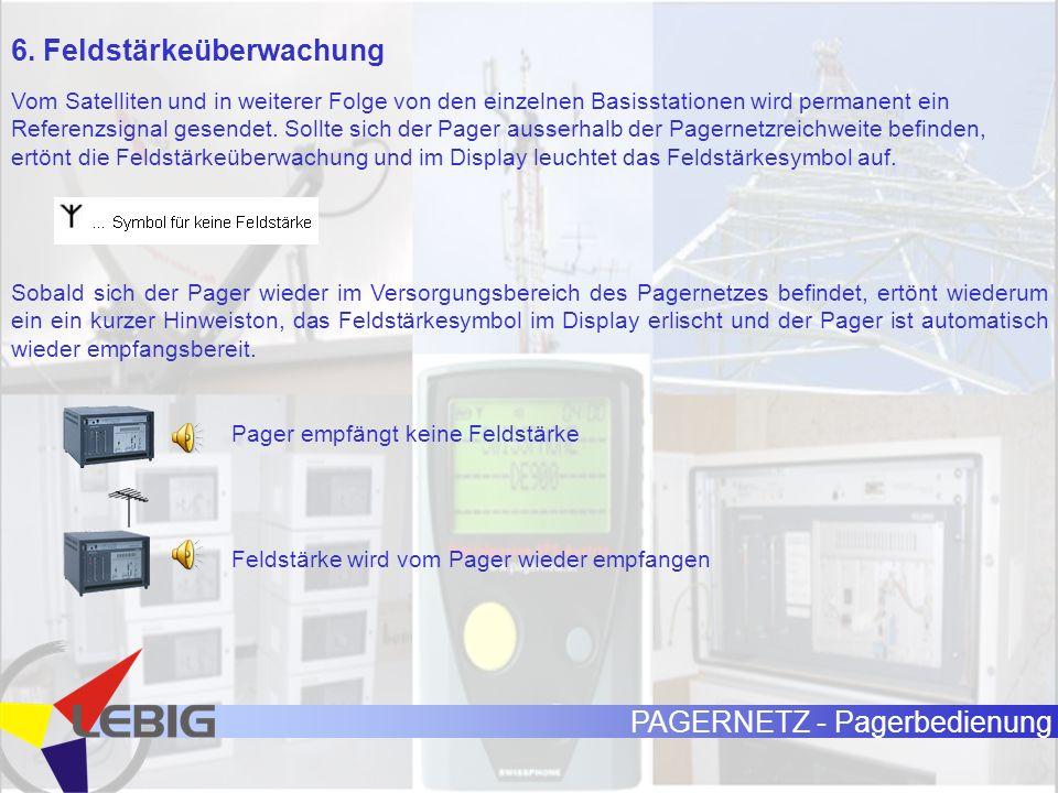 PAGERNETZ - Pagerbedienung 6. Feldstärkeüberwachung Vom Satelliten und in weiterer Folge von den einzelnen Basisstationen wird permanent ein Referenzs