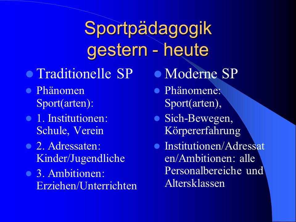Sportpädagogik gestern - heute Traditionelle SP Phänomen Sport(arten): 1.