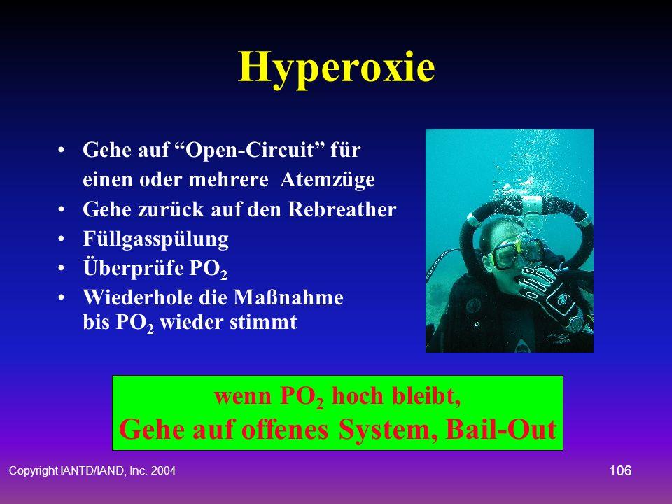 Copyright IANTD/IAND, Inc. 2004 105 Hypoxie Gehe auf offenes System für ein oder mehrere Atmungen Gehe zurück auf Rebreather Füllgasspülung Überprüfe
