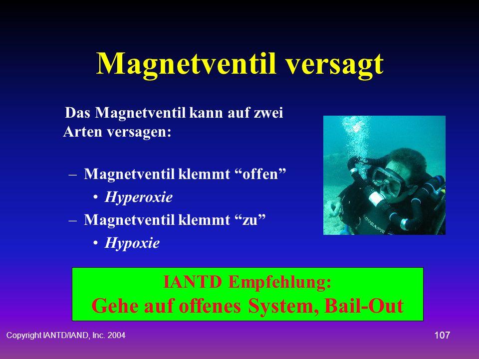 Copyright IANTD/IAND, Inc. 2004 106 Hyperoxie Gehe auf Open-Circuit für einen oder mehrere Atemzüge Gehe zurück auf den Rebreather Füllgasspülung Über