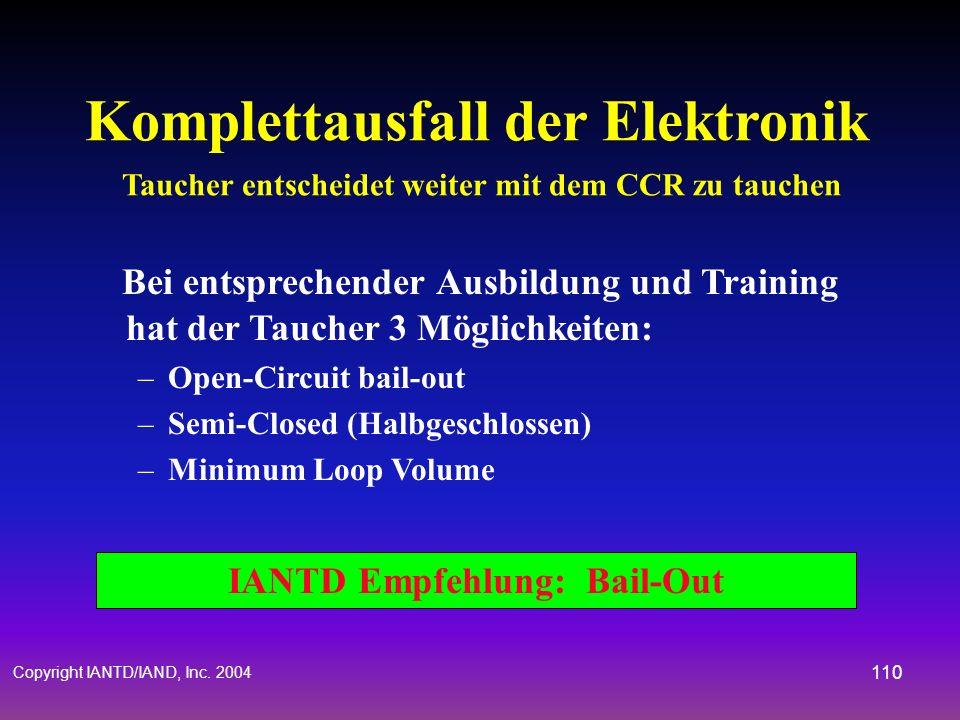 Copyright IANTD/IAND, Inc. 2004 109 Magnetventil klemmt - zu Taucher entscheidet weiter mit dem CCR zu tauchen IANTD Empfehlung: Bail-Out Gehe auf Ope