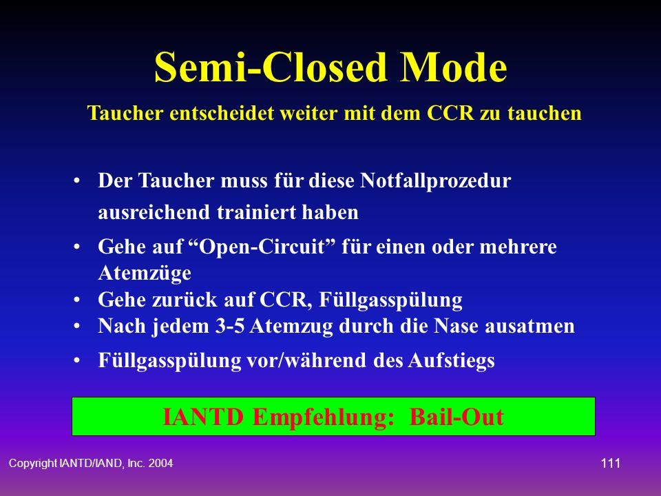 Copyright IANTD/IAND, Inc. 2004 110 IANTD Empfehlung: Bail-Out Komplettausfall der Elektronik Taucher entscheidet weiter mit dem CCR zu tauchen Bei en