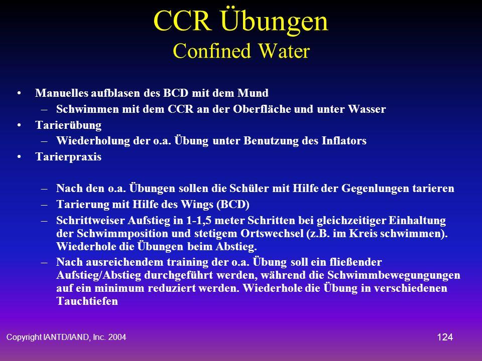 Copyright IANTD/IAND, Inc. 2004 123 CCR Übungen Confined Water Checkliste durchgehen –Gehe alle Pre-Dive Check Sequenzen sorgfältig durch –Betone, das
