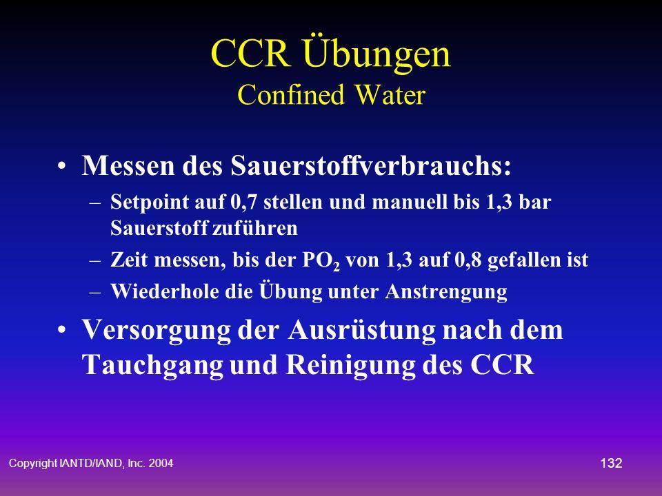 Copyright IANTD/IAND, Inc. 2004 131 CCR Übungen Confined Water Manuelle Kontrolle: –Manuelles halten des Setpoints (PO 2 - Wert niedrig eistellen und