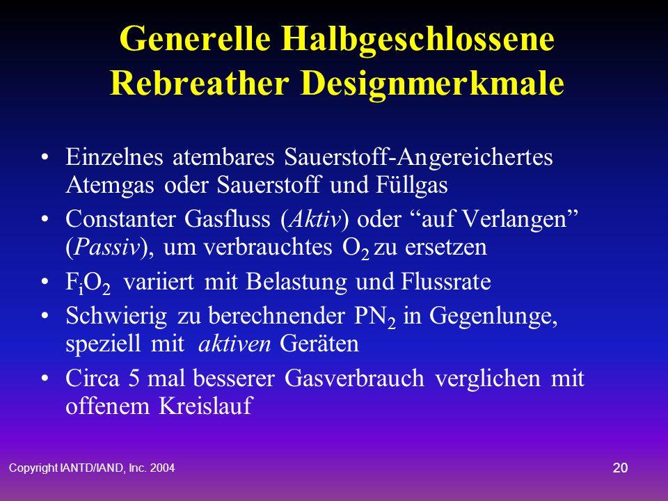Copyright IANTD/IAND, Inc. 2004 19 Allgemeine Halbgeschlossene Rebreather Designmerkmale Mundstück Gegenlunge Wasserabscheider CO 2 Reinigungs Kaniste