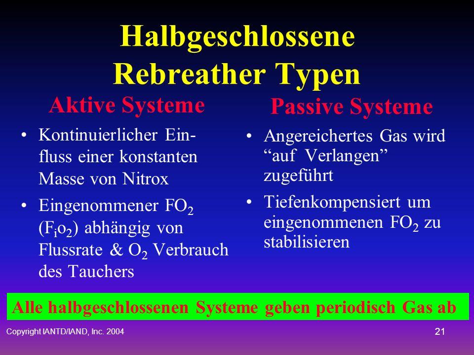 Copyright IANTD/IAND, Inc. 2004 20 Generelle Halbgeschlossene Rebreather Designmerkmale Einzelnes atembares Sauerstoff-Angereichertes Atemgas oder Sau