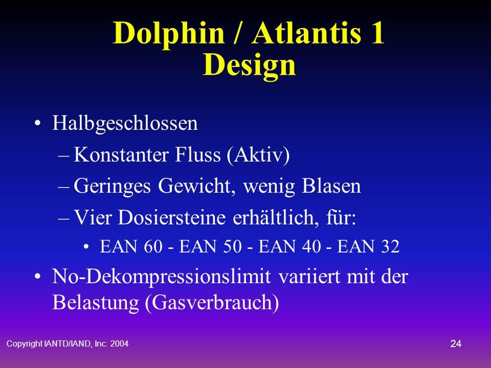 Copyright IANTD/IAND, Inc. 2004 23 Atlantis 1 & Dolphin Atemkreislauf Mundstück Einwegventil Abluftventil Ausatem- beutel CO 2 Absorber Gasversorgung