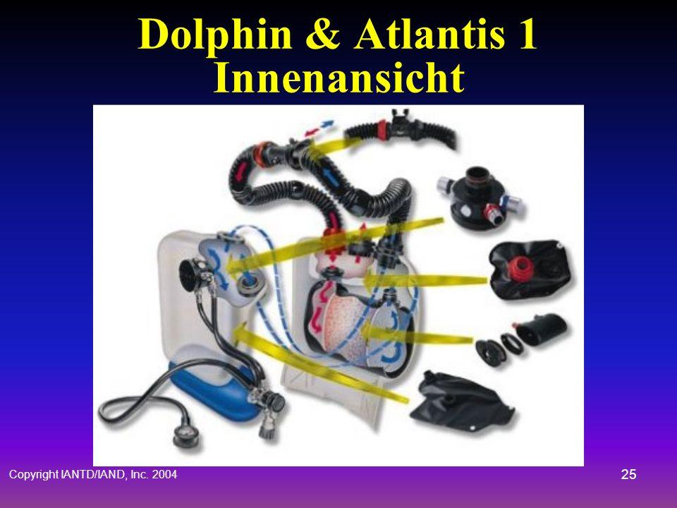 Copyright IANTD/IAND, Inc. 2004 24 Dolphin / Atlantis 1 Design Halbgeschlossen –Konstanter Fluss (Aktiv) –Geringes Gewicht, wenig Blasen –Vier Dosiers