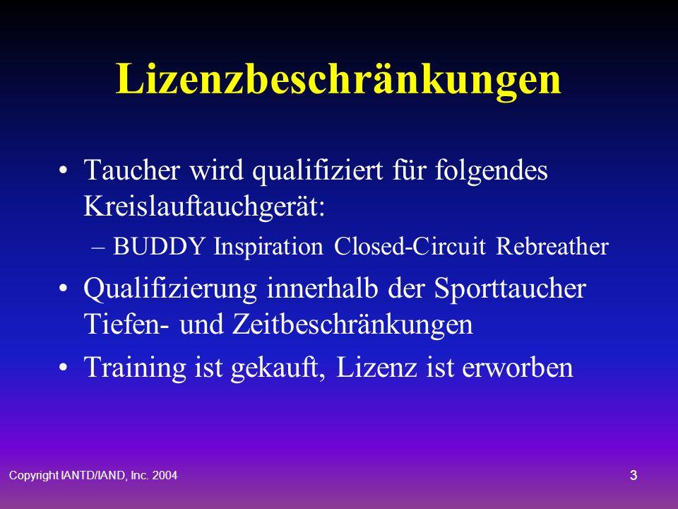Copyright IANTD/IAND, Inc. 2004 2 Voraussetzungen Mindestalter 18 Jahre IANTD Advanced Nitrox Diver (kann in Verbindung mit diesem Kurs absolviert wer