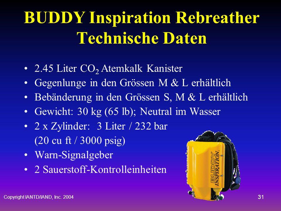 Copyright IANTD/IAND, Inc. 2004 30 Rebreather & Dekompression Partialdruck des Füllgases bestimmt die Dekompressionspflicht Offene & halb geschlossene