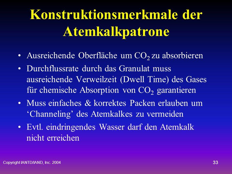 Copyright IANTD/IAND, Inc. 2004 32 Atemkreislauf Atemverbindung zur Atemkalkpatrone um CO 2 zu entsorgen Ausgeatmetes Gas passiert den Atemkalk- Behäl