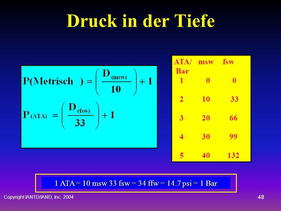 Copyright IANTD/IAND, Inc. 2004 47 Druckeinheiten Der Partialdruck eines Gases in einer Atemgasmischung (pP G) wird in ATA/Bar gemessen Die Summe der