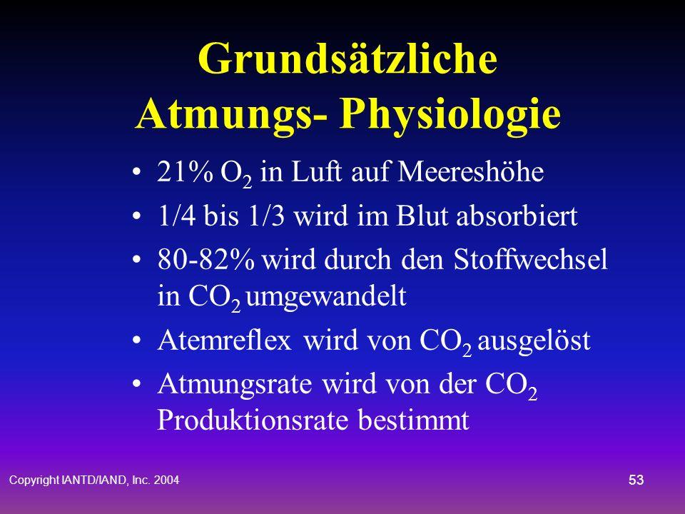 Copyright IANTD/IAND, Inc. 2004 52 Geschlossener Kreislauf & Partialdrücke Elektronisches Kontrollsystem regelt konstanten PO 2 - Setpoint Sauerstoffs