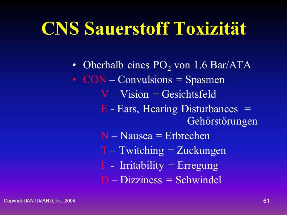 Copyright IANTD/IAND, Inc. 2004 60 Physiologische Betrachtungen Hyperoxie (CNS O 2 Toxizität) Hypoxie (O 2 Mangel) Hyperkapnie (CO 2 Toxizität) Dekomp