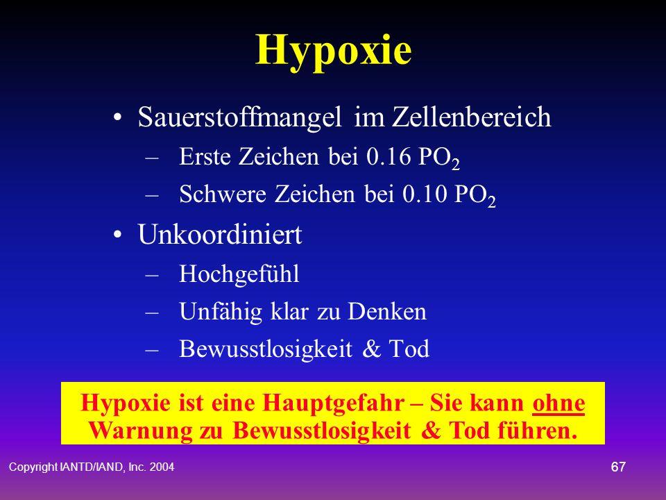Copyright IANTD/IAND, Inc. 2004 66 Asphyxie Wenn ein Taucher in einen geschlossenen Beutel Ein & Ausatmet - CO 2 steigt und O 2 fällt Dyspnie – Anstei