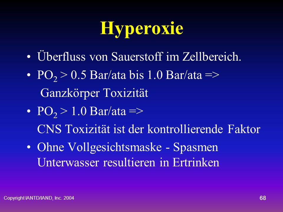 Copyright IANTD/IAND, Inc. 2004 67 Hypoxie Sauerstoffmangel im Zellenbereich –Erste Zeichen bei 0.16 PO 2 –Schwere Zeichen bei 0.10 PO 2 Unkoordiniert
