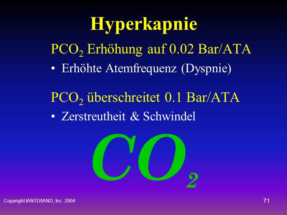 Copyright IANTD/IAND, Inc. 2004 70 Hyperkapnie Überfluss von CO 2 im Zellbereich Schwere Probleme in Rebreathern aufgrund des geschlossenen Kreislaufs