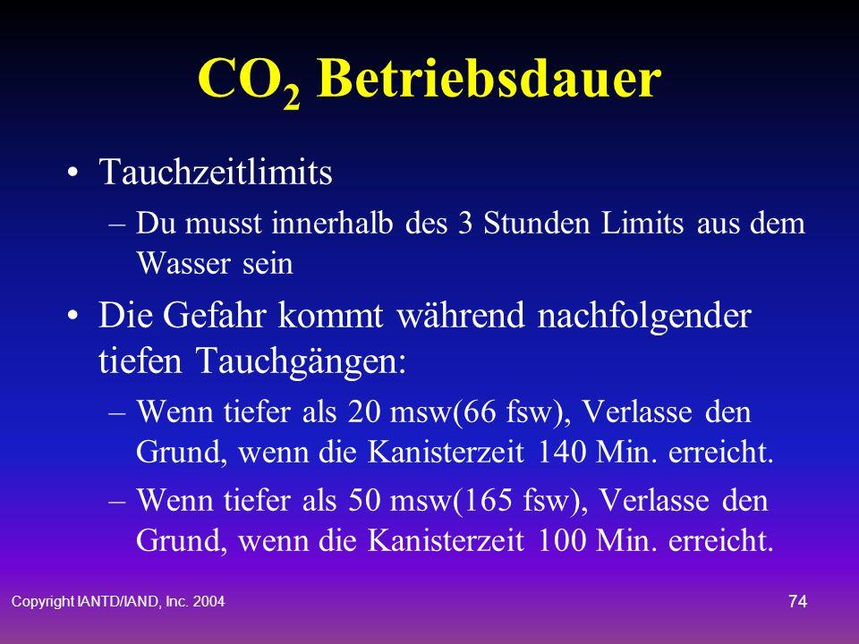 Copyright IANTD/IAND, Inc. 2004 73 Absorptionsmaterial Das BUDDY Inspiration wurde wie folgt getestet: –1-2.5mm (797 / 8-12 Grade) Sofnolime Granulat,