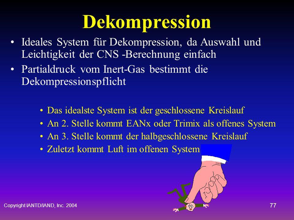 Copyright IANTD/IAND, Inc. 2004 76 Hyperoxie Hypoxie Hyperkapnie Voll-Geschl. Hoch Mittel Niedrig Halb-Geschl. Niedrig Mittel Niedrig Risiko Vergleich