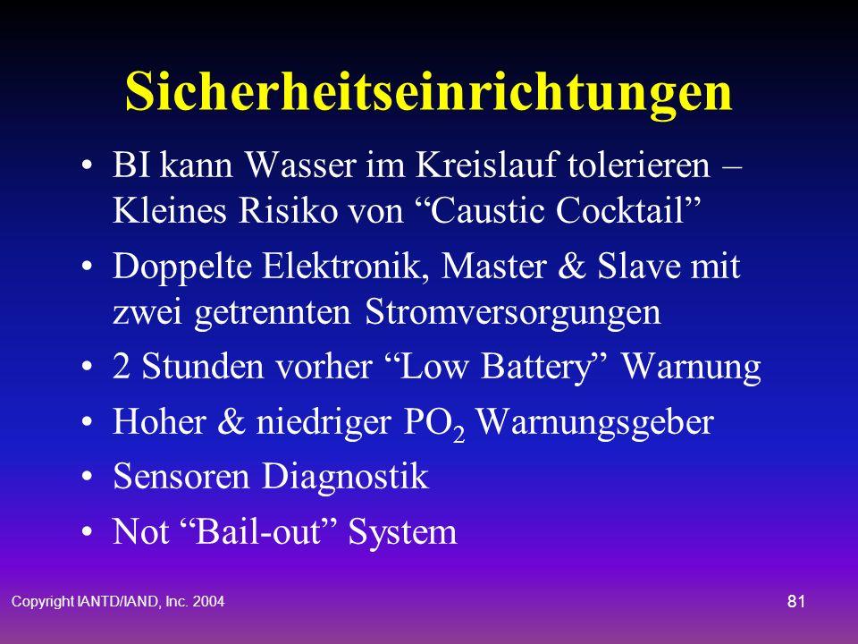 Copyright IANTD/IAND, Inc. 2004 80 Überwachen des PO 2 Hypoxie & Hyperoxie sind reale Gefahren Kenne immer Deinen PO 2