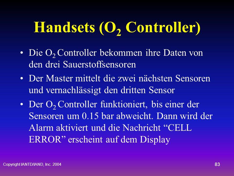 Copyright IANTD/IAND, Inc. 2004 82 Handsets (O 2 Controller) Zwei identische Controller - Ein Master, ein Slave. Welcher zuerst eingeschaltet wird, is